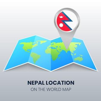 世界地図上のネパールの場所アイコン、ネパールの丸いピンアイコン