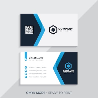Синяя элегантная визитная карточка