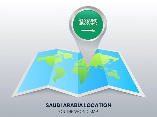 世界地図上のサウジアラビアの位置