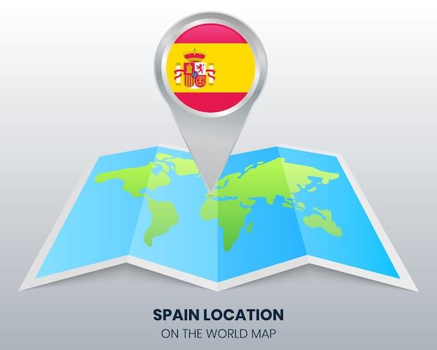 世界地図上のスペインの位置