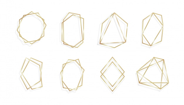Набор геометрических золотой раме пригласительных билетов изолированных фон искусства линии