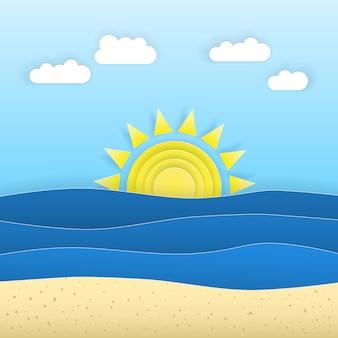 Восход и закат с синим морем и ск
