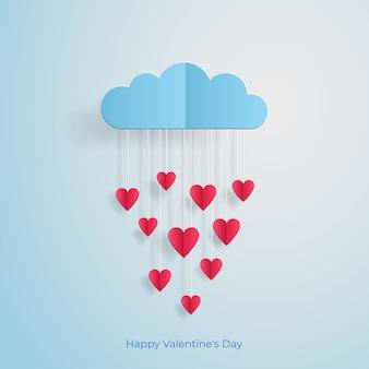Любовь пригласительный билет день святого валентина воздушный шар облако с дождем из сердец вырезать из бумаги