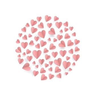 Сердца на абстрактном фоне любви с бумажными сердечками