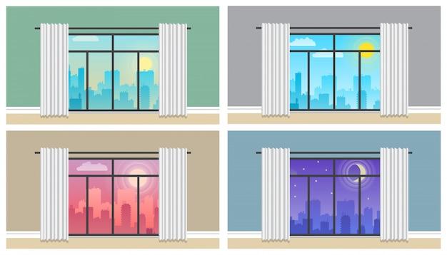 朝、昼と夜の街のスカイラインの風景