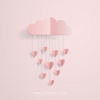 愛の招待カードバレンタインデーバルーンクラウドハート紙カットから雨で