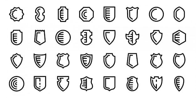 Набор иконок щитов, изолированные на белом