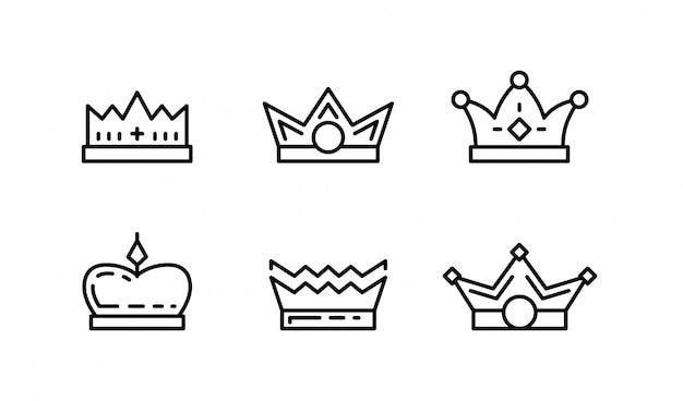Набор иконок искусства линии короны