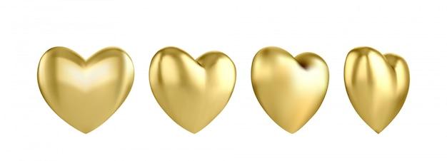 Золотой глянцевый трехмерный сердечный воздушный шар на белом фоне