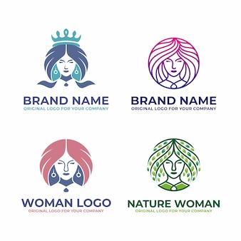 Современный, салон красоты женщина логотип коллекции.