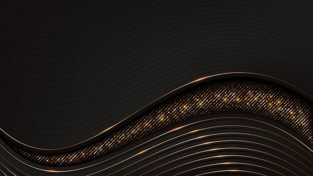 きらめくパターンで豪華な波状の背景。