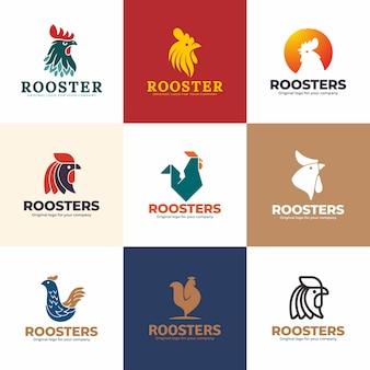オンドリのロゴデザインテンプレート。創造的なユニークなロゴデザインコレクション。