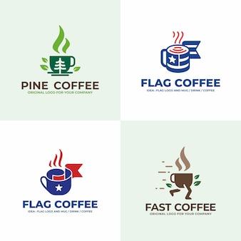 飲み物、松、旗、ファーストドリンクのロゴデザインコレクション。
