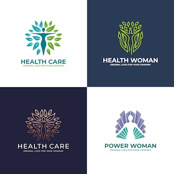 Здоровый, женщина, йога, салон красоты, дизайн логотипа коллекции.