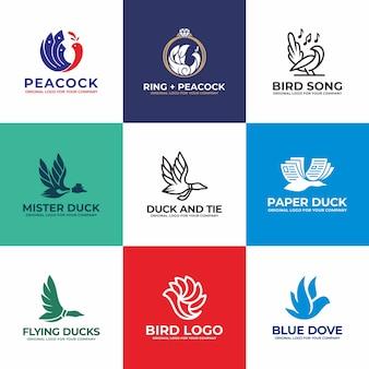 鳥、白鳥、アヒル、鳩、孔雀のロゴデザインコレクション。