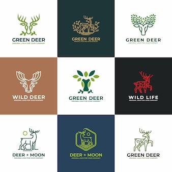 鹿、アンテロープのロゴデザインコレクション。