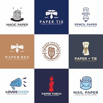 帽子、紙、鉛筆、郵便、スピーカー、ネクタイのロゴデザインコレクション。