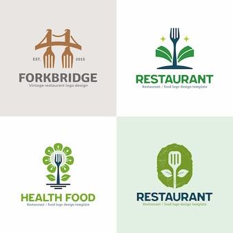 創造的なユニークなレストランのロゴのコレクション。