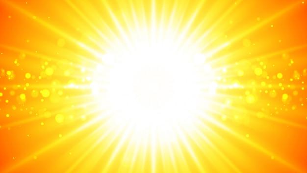 輝く光線と明るいオレンジ色の背景。