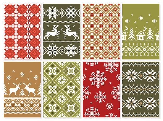 クリスマスのシームレスパターンのセットレトロなスタイルの壁紙の無限のテクスチャ。