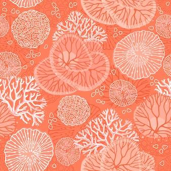 Морской бесшовный образец с красивыми кораллами.
