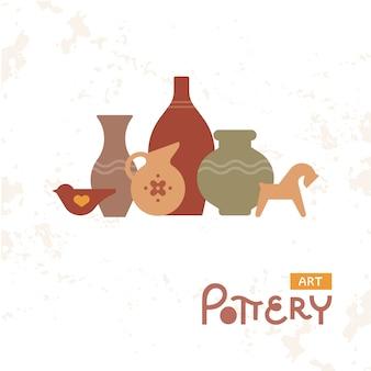 粘土のクラフト花瓶陶器