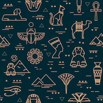 シンボル、ランドマーク、エジプトの兆候の暗いシームレスパターン