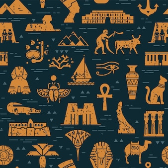 Темный бесшовный фон из символов, ориентиров и знаков египта
