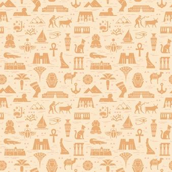 Яркий бесшовный фон из символов, ориентиров и знаков египта