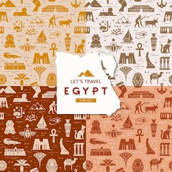 Набор бесшовных паттернов символов, достопримечательностей и знаков египта