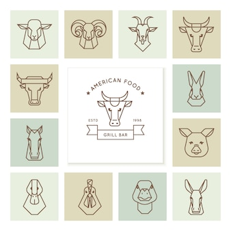 アメリカの食べ物のロゴ、農場の動物の頭の大規模なセット