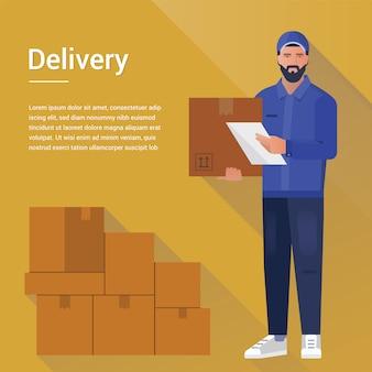 Бородатый курьер человек из шаблона службы доставки грузов