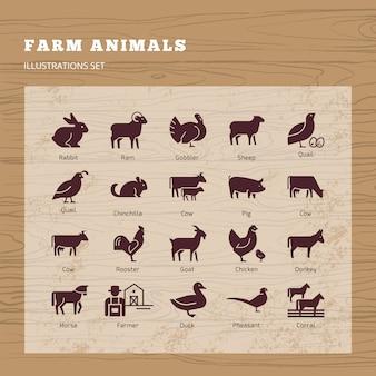 Набор силуэтов животных фермы