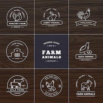 Набор из восьми современных линейных логотипов стиля с сельскохозяйственными животными с пространством для текста или названия компании