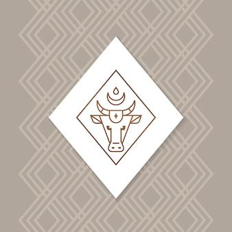 Бык или буйвол или теленок векторный логотип
