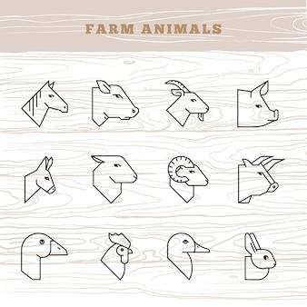 農場の動物の概念。農場の動物のシルエットの直線的なスタイルのベクトルのアイコンを設定