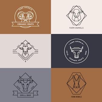 Логотип значков сельскохозяйственных животных в линейном стиле