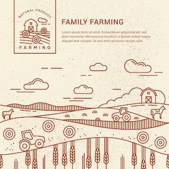 Семейная ферма с местом для текста и логотипа шаблона
