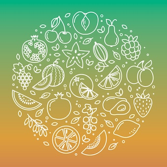 円形の野菜や果物のアイコンイラスト背景のセット