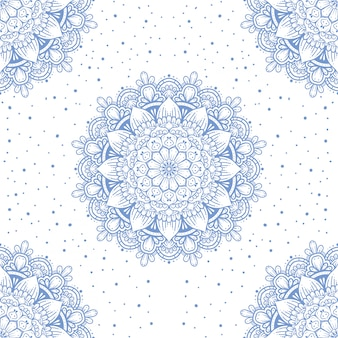 マンダラデザインの白いシームレスパターン