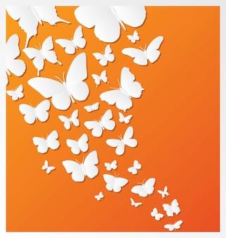 オレンジの背景に蝶のデザイン