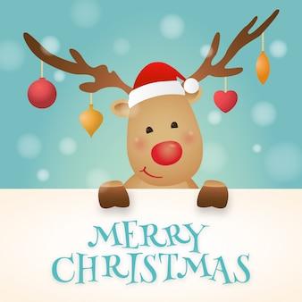 休日の挨拶のための大きな看板付きクリスマストナカイ