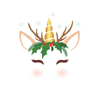 クリスマスのためのかわいいユニコーン文字の顔
