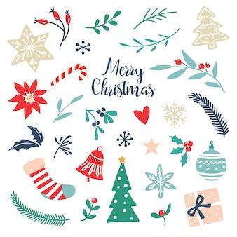 手描きのクリスマスの要素とシンボルのセット