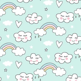 かわいいのシームレスな雲模様