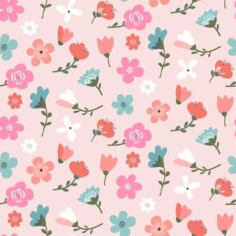 かわいい色とりどりの花でシームレス花柄デザイン