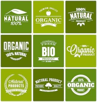 Органические продукты шаблоны логотипов