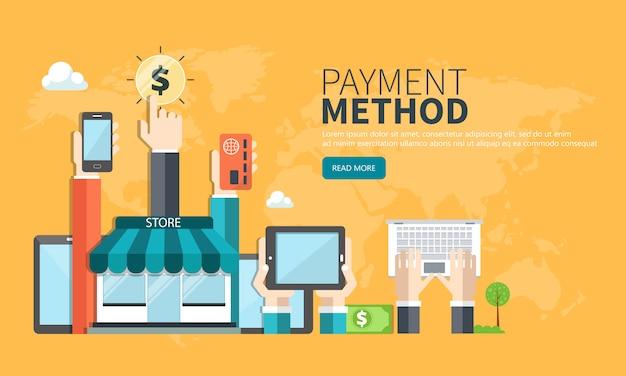 支払方法のウェブサイトのバナー