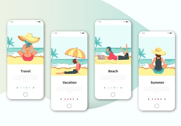 旅行のためのオンボーディングスクリーンユーザーインターフェースキットのセット