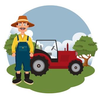 農家トラクターの隣に立って